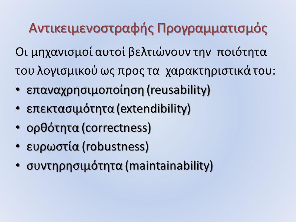 Αντικειμενοστραφής Προγραμματισμός Οι μηχανισμοί αυτοί βελτιώνουν την ποιότητα του λογισμικού ως προς τα χαρακτηριστικά του: επαναχρησιμοποίηση (reusability) επαναχρησιμοποίηση (reusability) επεκτασιμότητα (extendibility) επεκτασιμότητα (extendibility) ορθότητα (correctness) ορθότητα (correctness) ευρωστία (robustness) ευρωστία (robustness) συντηρησιμότητα (maintainability) συντηρησιμότητα (maintainability)