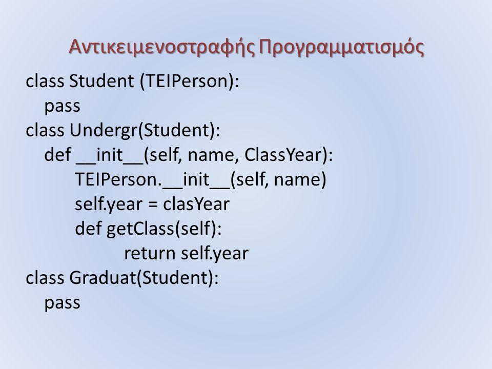Αντικειμενοστραφής Προγραμματισμός class Student (TEIPerson): pass class Undergr(Student): def __init__(self, name, ClassYear): TEIPerson.__init__(self, name) self.year = clasYear def getClass(self): return self.year class Graduat(Student): pass