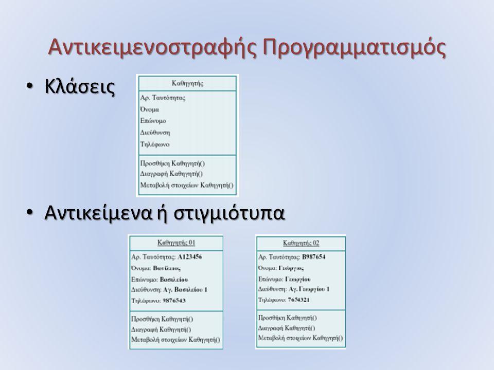 Αντικειμενοστραφής Προγραμματισμός Κλάσεις Κλάσεις Αντικείμενα ή στιγμιότυπα Αντικείμενα ή στιγμιότυπα