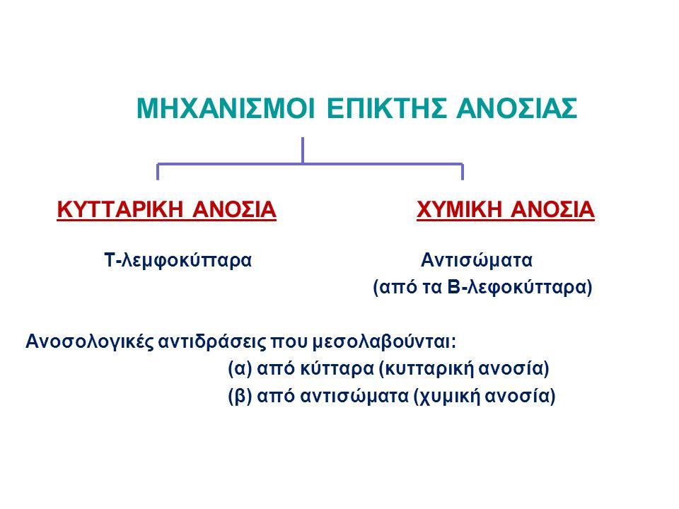 ΜΗΧΑΝΙΣΜΟΙ ΕΠΙΚΤΗΣ ΑΝΟΣΙΑΣ ΚΥΤΤΑΡΙΚΗ ΑΝΟΣΙΑ ΧΥΜΙΚΗ ΑΝΟΣΙΑ Τ-λεμφοκύτταρα Αντισώματα (από τα Β-λεφοκύτταρα) Ανοσολογικές αντιδράσεις που μεσολαβούνται: (α) από κύτταρα (κυτταρική ανοσία) (β) από αντισώματα (χυμική ανοσία)
