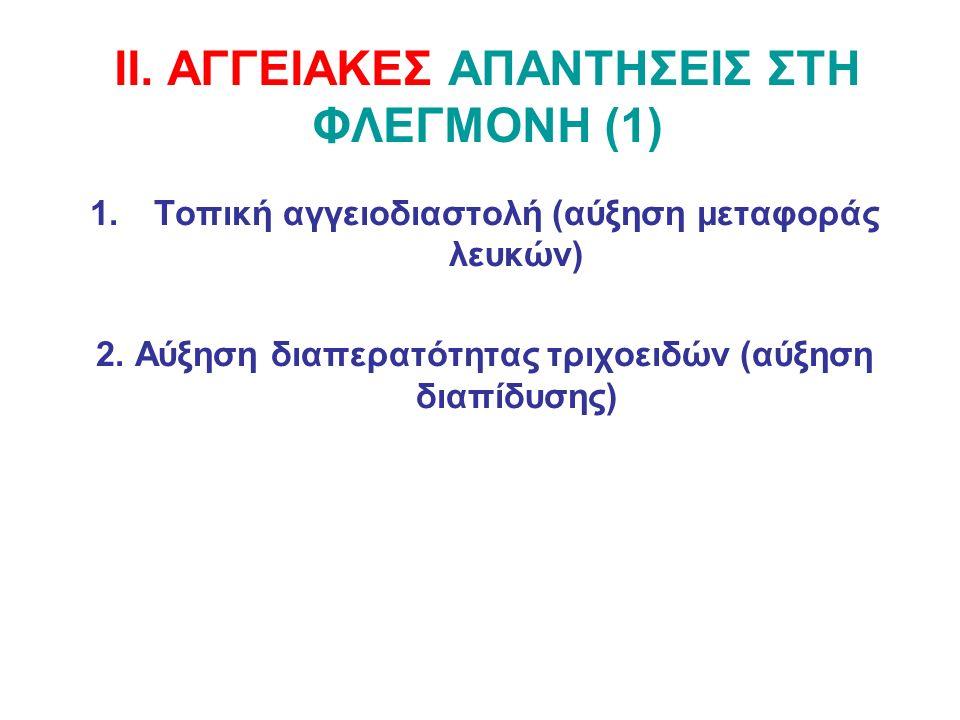 ΙΙ. ΑΓΓΕΙΑΚΕΣ ΑΠΑΝΤΗΣΕΙΣ ΣΤΗ ΦΛΕΓΜΟΝΗ (1) 1.Τοπική αγγειοδιαστολή (αύξηση μεταφοράς λευκών) 2. Αύξηση διαπερατότητας τριχοειδών (αύξηση διαπίδυσης)