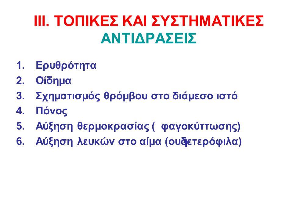 ΙΙΙ. ΤΟΠΙΚΕΣ ΚΑΙ ΣΥΣΤΗΜΑΤΙΚΕΣ ΑΝΤΙΔΡΑΣΕΙΣ 1.Ερυθρότητα 2.Οίδημα 3.Σχηματισμός θρόμβου στο διάμεσο ιστό 4.Πόνος 5.Αύξηση θερμοκρασίας ( φαγοκύττωσης) 6