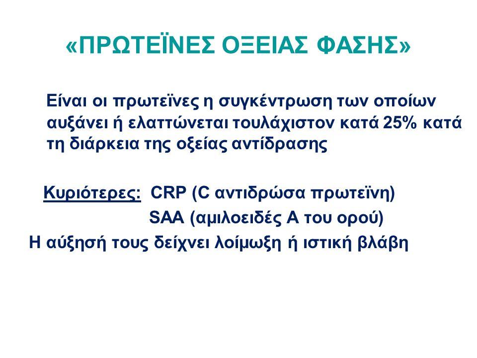 «ΠΡΩΤΕΪΝΕΣ ΟΞΕΙΑΣ ΦΑΣΗΣ» Είναι οι πρωτεϊνες η συγκέντρωση των οποίων αυξάνει ή ελαττώνεται τουλάχιστον κατά 25% κατά τη διάρκεια της οξείας αντίδρασης Κυριότερες: CRP (C αντιδρώσα πρωτεϊνη) SAA (αμιλοειδές Α του ορού) Η αύξησή τους δείχνει λοίμωξη ή ιστική βλάβη