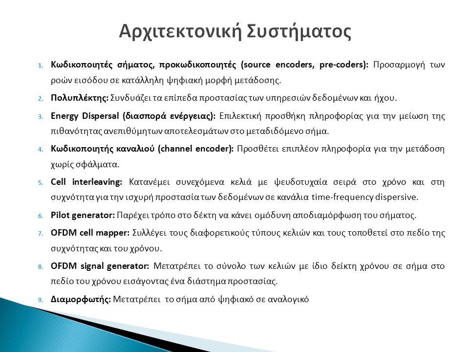 1. Κωδικοποιητές σήματος, προκωδικοποιητές (source encoders, pre-coders): Προσαρμογή των ροών εισόδου σε κατάλληλη ψηφιακή μορφή μετάδοσης. 2. Πολυπλέ