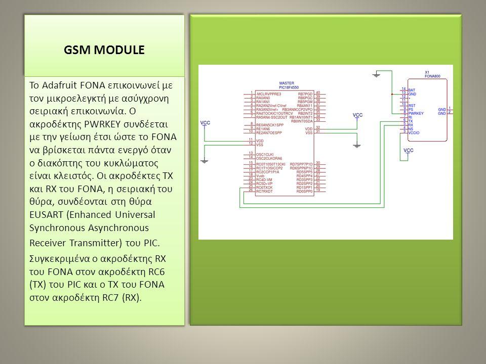 GSM MODULE To Adafruit FONA επικοινωνεί με τον μικροελεγκτή με ασύγχρονη σειριακή επικοινωνία. Ο ακροδέκτης PWRKEY συνδέεται με την γείωση έτσι ώστε τ