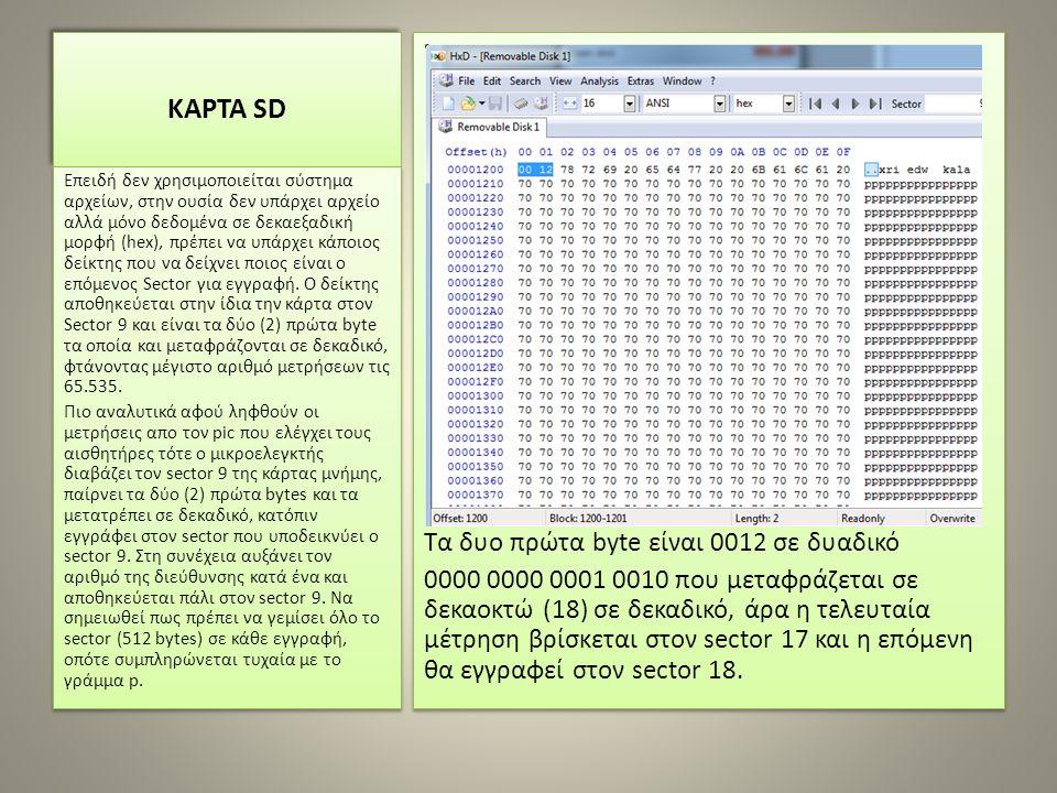 ΚΑΡΤΑ SD Τα δυο πρώτα byte είναι 0012 σε δυαδικό 0000 0000 0001 0010 που μεταφράζεται σε δεκαοκτώ (18) σε δεκαδικό, άρα η τελευταία μέτρηση βρίσκεται στον sector 17 και η επόμενη θα εγγραφεί στον sector 18.