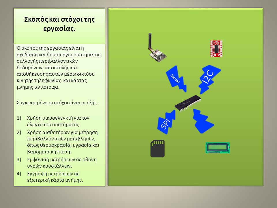 Ο σκοπός της εργασίας είναι η σχεδίαση και δημιουργία συστήματος συλλογής περιβαλλοντικών δεδομένων, αποστολής και αποθήκευσης αυτών μέσω δικτύου κινη