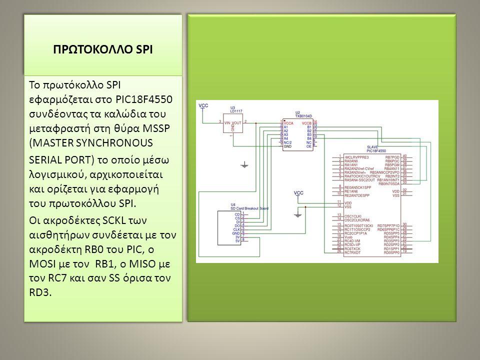 ΠΡΩΤΟΚΟΛΛΟ SPI To πρωτόκολλο SPI εφαρμόζεται στο PIC18F4550 συνδέοντας τα καλώδια του μεταφραστή στη θύρα MSSP (MASTER SYNCHRONOUS SERIAL PORT) το οποίο μέσω λογισμικού, αρχικοποιείται και ορίζεται για εφαρμογή του πρωτοκόλλου SPI.
