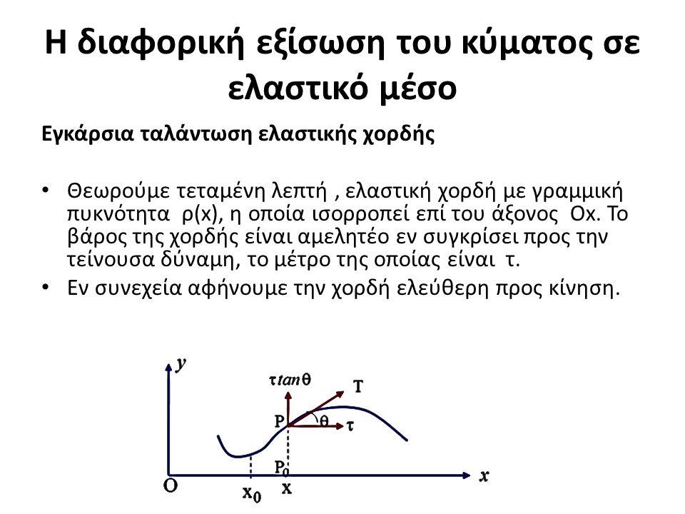 Η διαφορική εξίσωση του κύματος σε ελαστικό μέσο Εγκάρσια ταλάντωση ελαστικής χορδής Θεωρούμε τεταμένη λεπτή, ελαστική χορδή με γραμμική πυκνότητα ρ(x), η οποία ισορροπεί επί του άξονος Ox.
