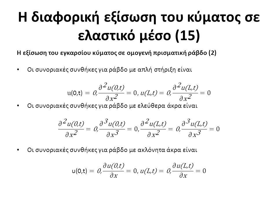 Η διαφορική εξίσωση του κύματος σε ελαστικό μέσο (15)