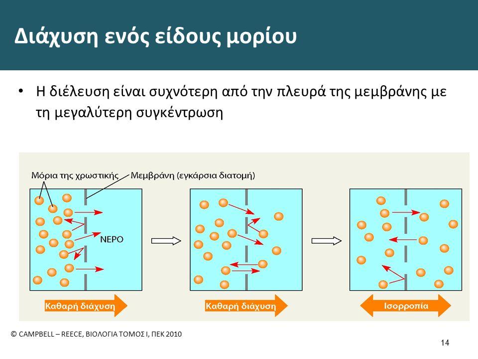 Διάχυση ενός είδους μορίου Η διέλευση είναι συχνότερη από την πλευρά της μεμβράνης με τη μεγαλύτερη συγκέντρωση 14 © CAMPBELL – REECE, ΒΙΟΛΟΓΙΑ ΤΟΜΟΣ Ι, ΠΕΚ 2010