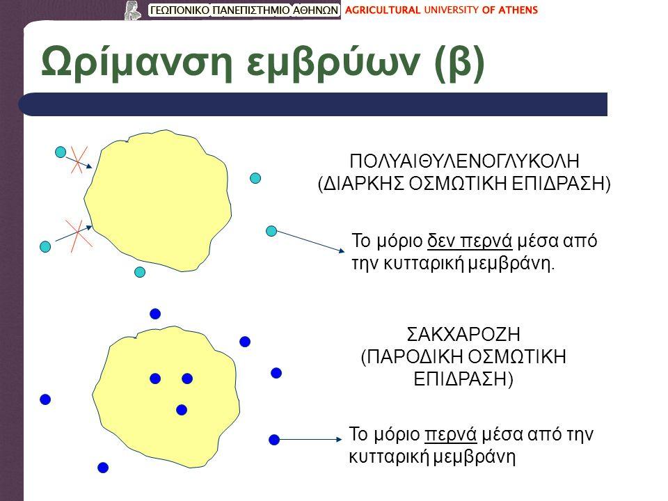 Ωρίμανση εμβρύων (β) ΠΟΛΥΑΙΘΥΛΕΝΟΓΛΥΚΟΛΗ (ΔΙΑΡΚΗΣ ΟΣΜΩΤΙΚΗ ΕΠΙΔΡΑΣΗ) Το μόριο δεν περνά μέσα από την κυτταρική μεμβράνη.