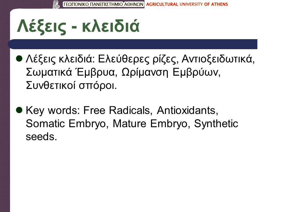 Λέξεις - κλειδιά Λέξεις κλειδιά: Ελεύθερες ρίζες, Αντιοξειδωτικά, Σωματικά Έμβρυα, Ωρίμανση Εμβρύων, Συνθετικοί σπόροι.