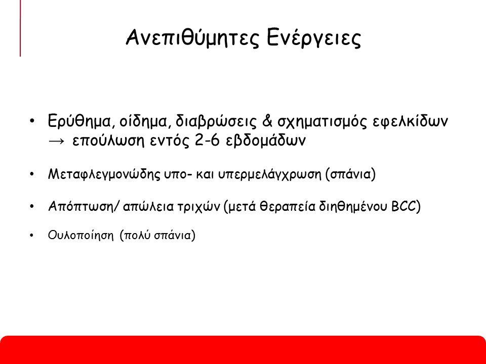 Ανεπιθύμητες Ενέργειες Ερύθημα, οίδημα, διαβρώσεις & σχηματισμός εφελκίδων → επούλωση εντός 2-6 εβδομάδων Μεταφλεγμονώδης υπο- και υπερμελάγχρωση (σπάνια) Απόπτωση/ απώλεια τριχών (μετά θεραπεία διηθημένου BCC) Ουλοποίηση (πολύ σπάνια)