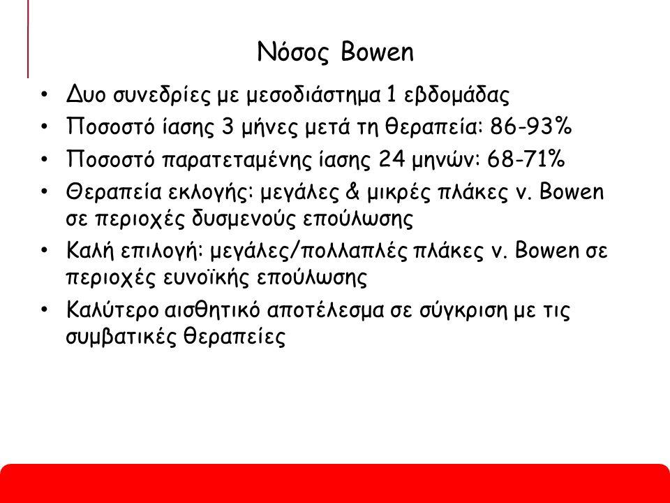 Νόσος Bowen Δυο συνεδρίες με μεσοδιάστημα 1 εβδομάδας Ποσοστό ίασης 3 μήνες μετά τη θεραπεία: 86-93% Ποσοστό παρατεταμένης ίασης 24 μηνών: 68-71% Θεραπεία εκλογής: μεγάλες & μικρές πλάκες ν.