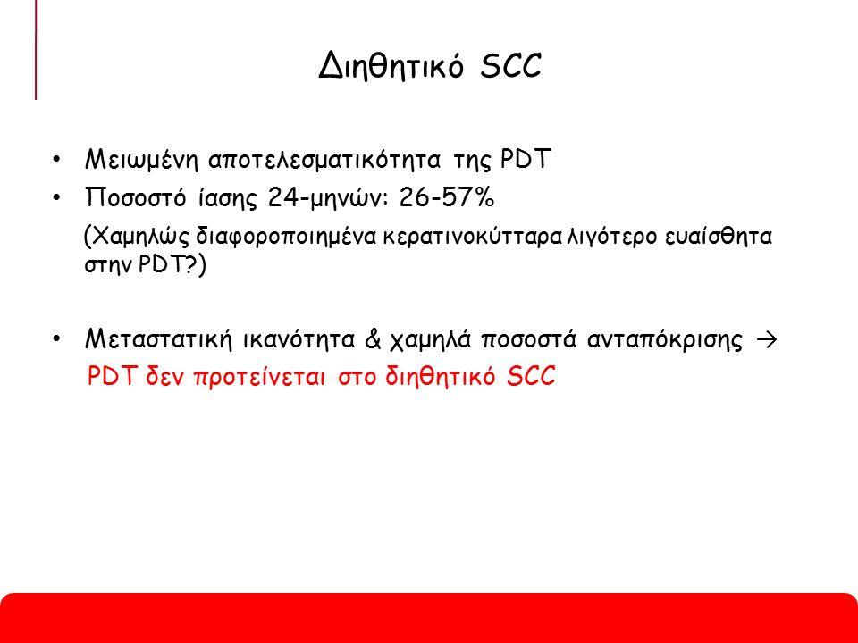 Διηθητικό SCC Μειωμένη αποτελεσματικότητα της PDT Ποσοστό ίασης 24-μηνών: 26-57% (Χαμηλώς διαφοροποιημένα κερατινοκύτταρα λιγότερο ευαίσθητα στην PDT?) Μεταστατική ικανότητα & χαμηλά ποσοστά ανταπόκρισης → PDT δεν προτείνεται στο διηθητικό SCC