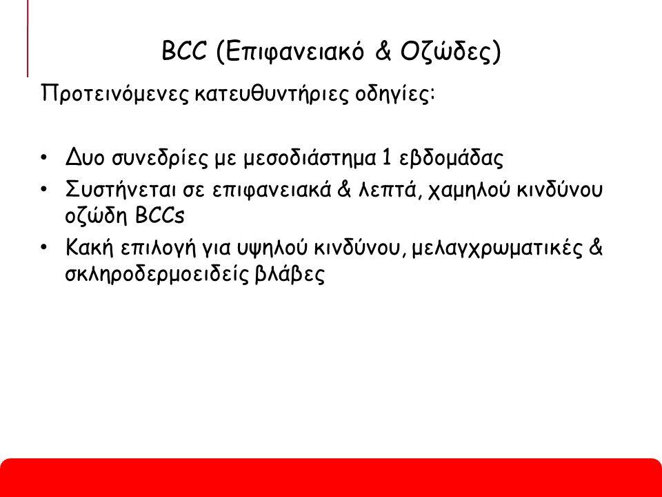 BCC (Επιφανειακό & Οζώδες) Προτεινόμενες κατευθυντήριες οδηγίες: Δυο συνεδρίες με μεσοδιάστημα 1 εβδομάδας Συστήνεται σε επιφανειακά & λεπτά, χαμηλού κινδύνου οζώδη BCCs Κακή επιλογή για υψηλού κινδύνου, μελαγχρωματικές & σκληροδερμοειδείς βλάβες