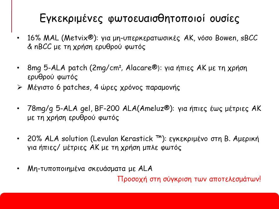 Εγκεκριμένες φωτοευαισθητοποιοί ουσίες 16% MAL (Metvix®): για μη-υπερκερατωσικές AK, νόσο Bowen, sBCC & nBCC με τη χρήση ερυθρού φωτός 8mg 5-ALA patch (2mg/cm ², Alacare® ) : για ήπιες AK με τη χρήση ερυθρού φωτός  Μέγιστο 6 patches, 4 ώρες χρόνος παραμονής 78mg/g 5-ALA gel, BF-200 ALA(Ameluz®): για ήπιες έως μέτριες AK με τη χρήση ερυθρού φωτός 20% ALA solution (Levulan Kerastick ™): εγκεκριμένο στη Β.