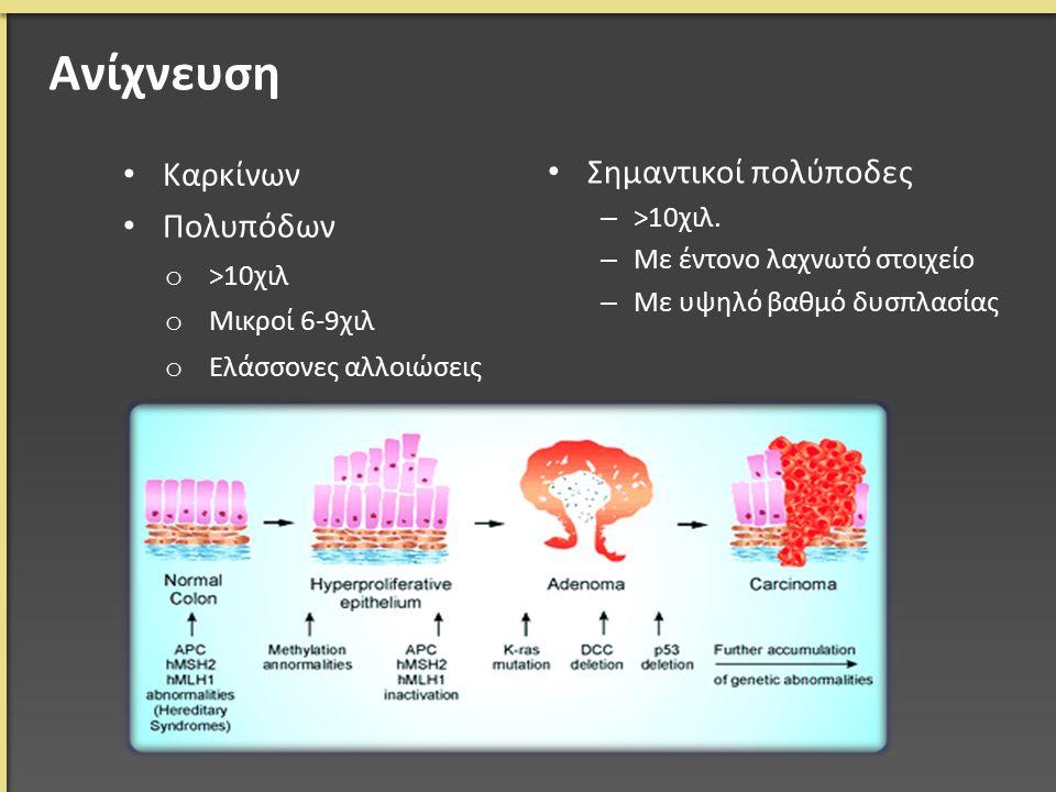 Ανίχνευση Καρκίνων Πολυπόδων o >10χιλ o Μικροί 6-9χιλ o Ελάσσονες αλλοιώσεις Σημαντικοί πολύποδες – >10χιλ.