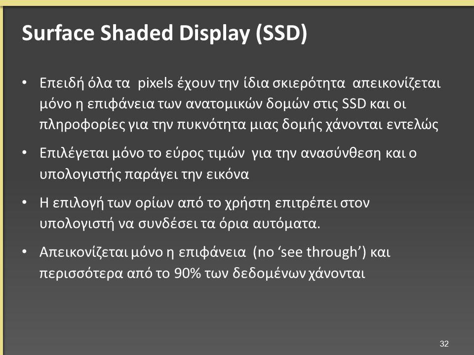 Επειδή όλα τα pixels έχουν την ίδια σκιερότητα απεικονίζεται μόνο η επιφάνεια των ανατομικών δομών στις SSD και οι πληροφορίες για την πυκνότητα μιας δομής χάνονται εντελώς Επιλέγεται μόνο το εύρος τιμών για την ανασύνθεση και ο υπολογιστής παράγει την εικόνα Η επιλογή των ορίων από το χρήστη επιτρέπει στον υπολογιστή να συνδέσει τα όρια αυτόματα.