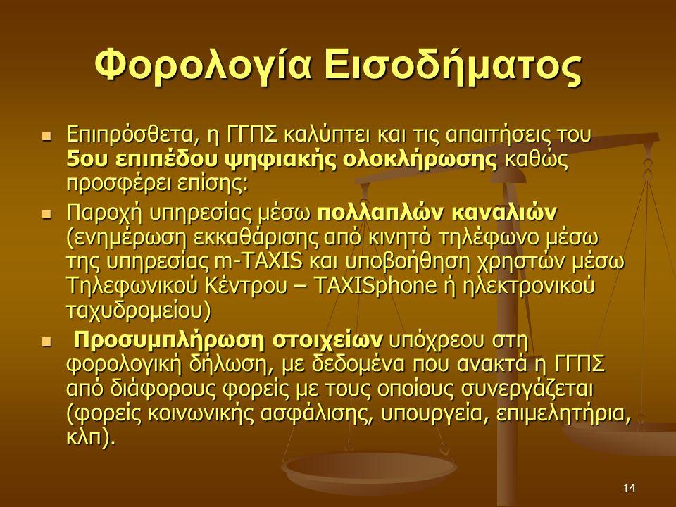 14 Φορολογία Εισοδήματος Επιπρόσθετα, η ΓΓΠΣ καλύπτει και τις απαιτήσεις του 5ου επιπέδου ψηφιακής ολοκλήρωσης καθώς προσφέρει επίσης: Επιπρόσθετα, η ΓΓΠΣ καλύπτει και τις απαιτήσεις του 5ου επιπέδου ψηφιακής ολοκλήρωσης καθώς προσφέρει επίσης: Παροχή υπηρεσίας μέσω πολλαπλών καναλιών (ενημέρωση εκκαθάρισης από κινητό τηλέφωνο μέσω της υπηρεσίας m-TAXIS και υποβοήθηση χρηστών μέσω Τηλεφωνικού Κέντρου – TAXISphone ή ηλεκτρονικού ταχυδρομείου) Παροχή υπηρεσίας μέσω πολλαπλών καναλιών (ενημέρωση εκκαθάρισης από κινητό τηλέφωνο μέσω της υπηρεσίας m-TAXIS και υποβοήθηση χρηστών μέσω Τηλεφωνικού Κέντρου – TAXISphone ή ηλεκτρονικού ταχυδρομείου) Προσυμπλήρωση στοιχείων υπόχρεου στη φορολογική δήλωση, με δεδομένα που ανακτά η ΓΓΠΣ από διάφορους φορείς με τους οποίους συνεργάζεται (φορείς κοινωνικής ασφάλισης, υπουργεία, επιμελητήρια, κλπ).