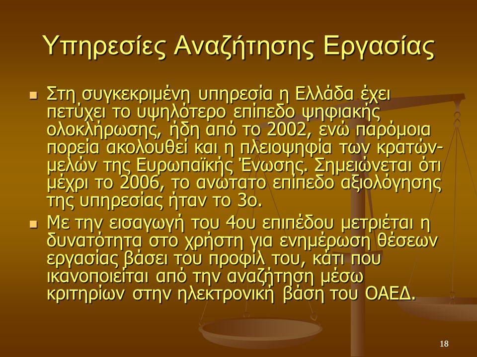 18 Υπηρεσίες Αναζήτησης Εργασίας Στη συγκεκριμένη υπηρεσία η Ελλάδα έχει πετύχει το υψηλότερο επίπεδο ψηφιακής ολοκλήρωσης, ήδη από το 2002, ενώ παρόμοια πορεία ακολουθεί και η πλειοψηφία των κρατών- μελών της Ευρωπαϊκής Ένωσης.