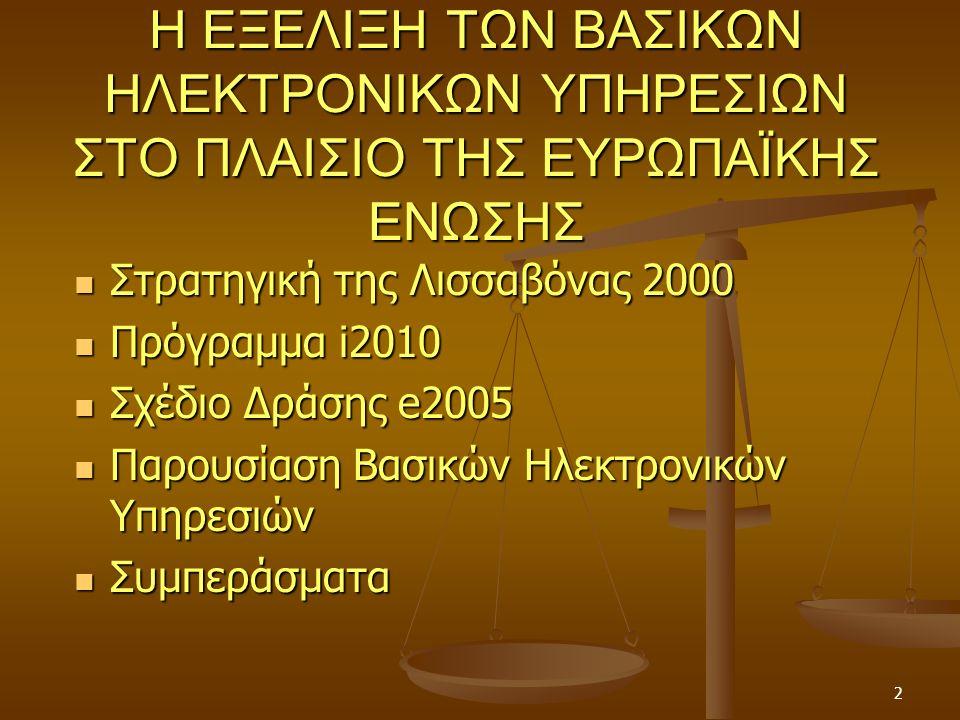 2 Η ΕΞΕΛΙΞΗ ΤΩΝ ΒΑΣΙΚΩΝ ΗΛΕΚΤΡΟΝΙΚΩΝ ΥΠΗΡΕΣΙΩΝ ΣΤΟ ΠΛΑΙΣΙΟ ΤΗΣ ΕΥΡΩΠΑΪΚΗΣ ΕΝΩΣΗΣ Στρατηγική της Λισσαβόνας 2000 Στρατηγική της Λισσαβόνας 2000 Πρόγραμμα i2010 Πρόγραμμα i2010 Σχέδιο Δράσης e2005 Σχέδιο Δράσης e2005 Παρουσίαση Βασικών Ηλεκτρονικών Υπηρεσιών Παρουσίαση Βασικών Ηλεκτρονικών Υπηρεσιών Συμπεράσματα Συμπεράσματα