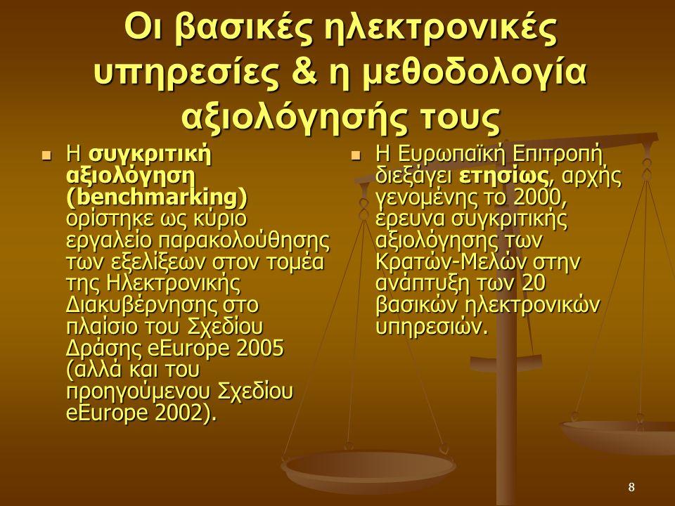 8 Οι βασικές ηλεκτρονικές υπηρεσίες & η μεθοδολογία αξιολόγησής τους Η συγκριτική αξιολόγηση (benchmarking) ορίστηκε ως κύριο εργαλείο παρακολούθησης των εξελίξεων στον τομέα της Ηλεκτρονικής Διακυβέρνησης στο πλαίσιο του Σχεδίου Δράσης eEurope 2005 (αλλά και του προηγούμενου Σχεδίου eEurope 2002).