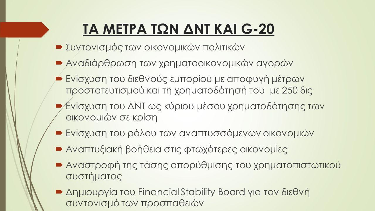 ΤΑ ΜΕΤΡΑ ΤΩΝ ΔΝΤ ΚΑΙ G-20  Συντονισμός των οικονομικών πολιτικών  Αναδιάρθρωση των χρηματοοικονομικών αγορών  Ενίσχυση του διεθνούς εμπορίου με αποφυγή μέτρων προστατευτισμού και τη χρηματοδότησή του με 250 δις  Ενίσχυση του ΔΝΤ ως κύριου μέσου χρηματοδότησης των οικονομιών σε κρίση  Ενίσχυση του ρόλου των αναπτυσσόμενων οικονομιών  Αναπτυξιακή βοήθεια στις φτωχότερες οικονομίες  Αναστροφή της τάσης απορύθμισης του χρηματοπιστωτικού συστήματος  Δημιουργία του Financial Stability Board για τον διεθνή συντονισμό των προσπαθειών