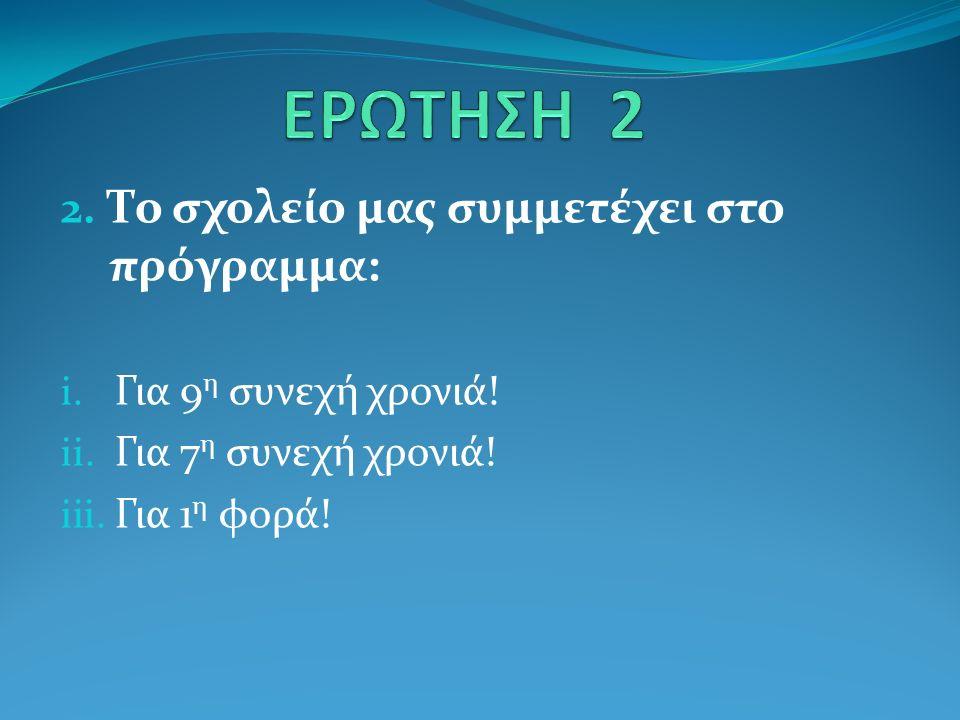 2. Το σχολείο μας συμμετέχει στο πρόγραμμα: i. Για 9 η συνεχή χρονιά.