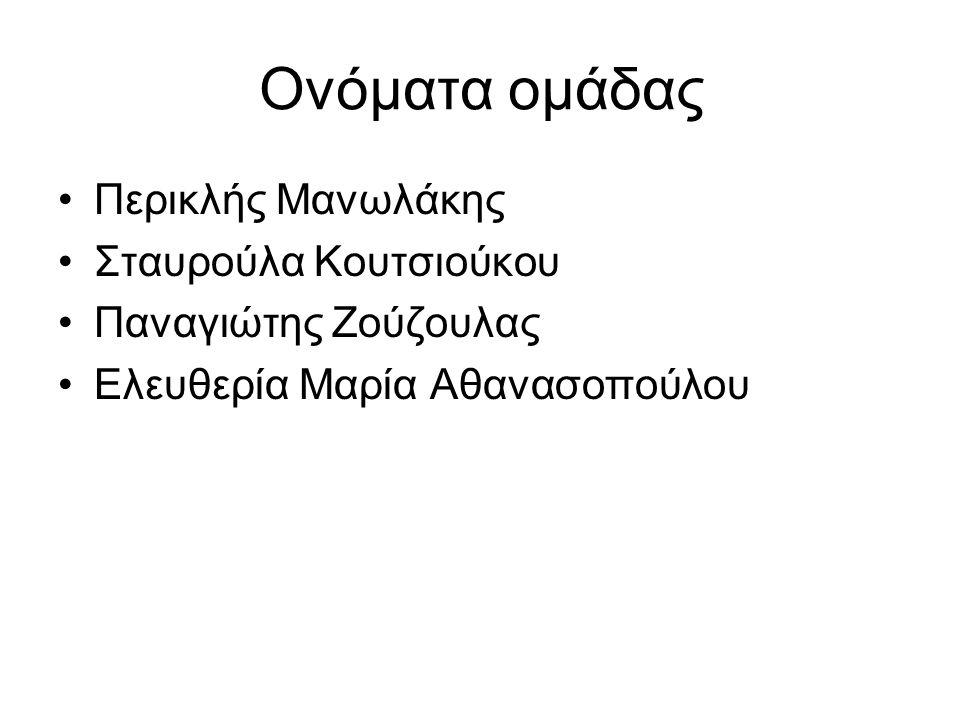 Ονόματα ομάδας Περικλής Μανωλάκης Σταυρούλα Κουτσιούκου Παναγιώτης Ζούζουλας Ελευθερία Μαρία Αθανασοπούλου