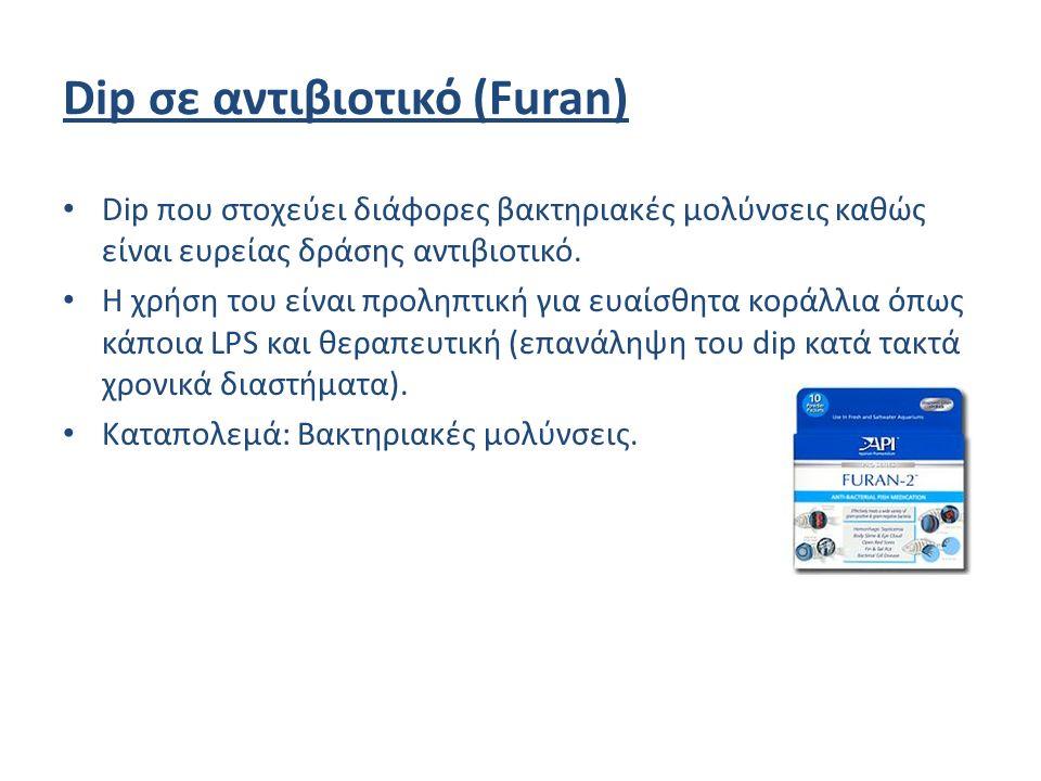 Dip σε αντιβιοτικό (Furan) Dip που στοχεύει διάφορες βακτηριακές μολύνσεις καθώς είναι ευρείας δράσης αντιβιοτικό.