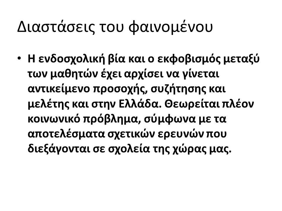 Διαστάσεις του φαινομένου Η ενδοσχολική βία και ο εκφοβισμός μεταξύ των μαθητών έχει αρχίσει να γίνεται αντικείμενο προσοχής, συζήτησης και μελέτης και στην Ελλάδα.