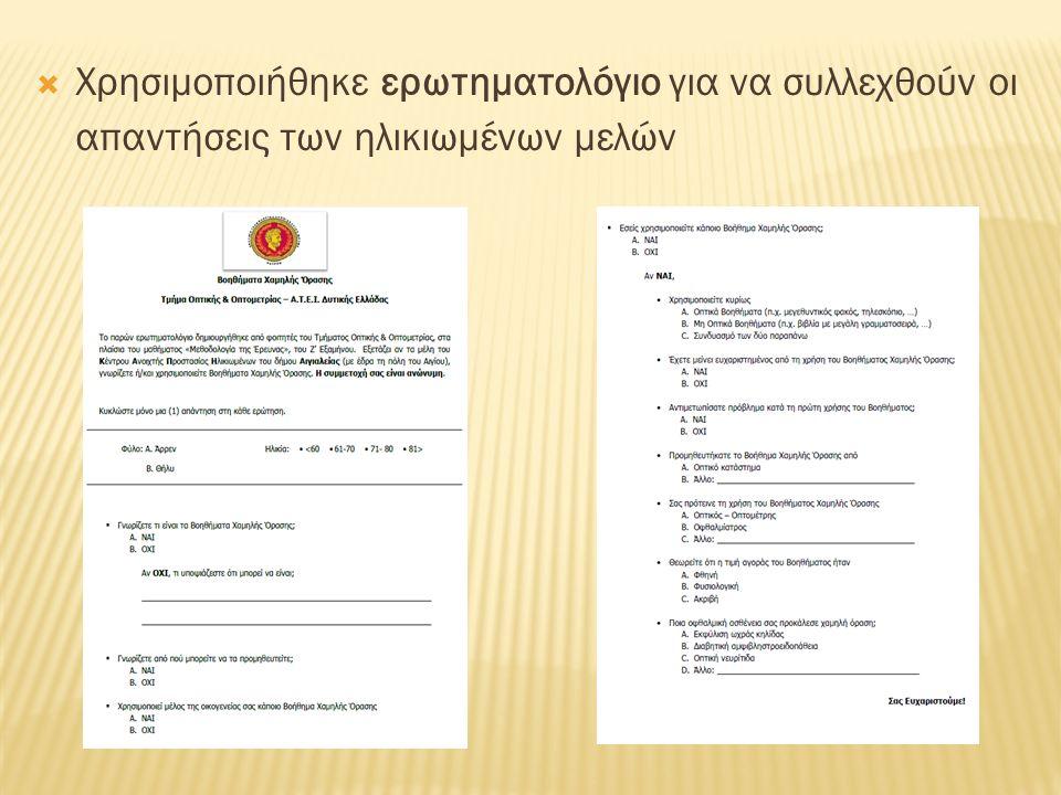  Χρησιμοποιήθηκε ερωτηματολόγιο για να συλλεχθούν οι απαντήσεις των ηλικιωμένων μελών