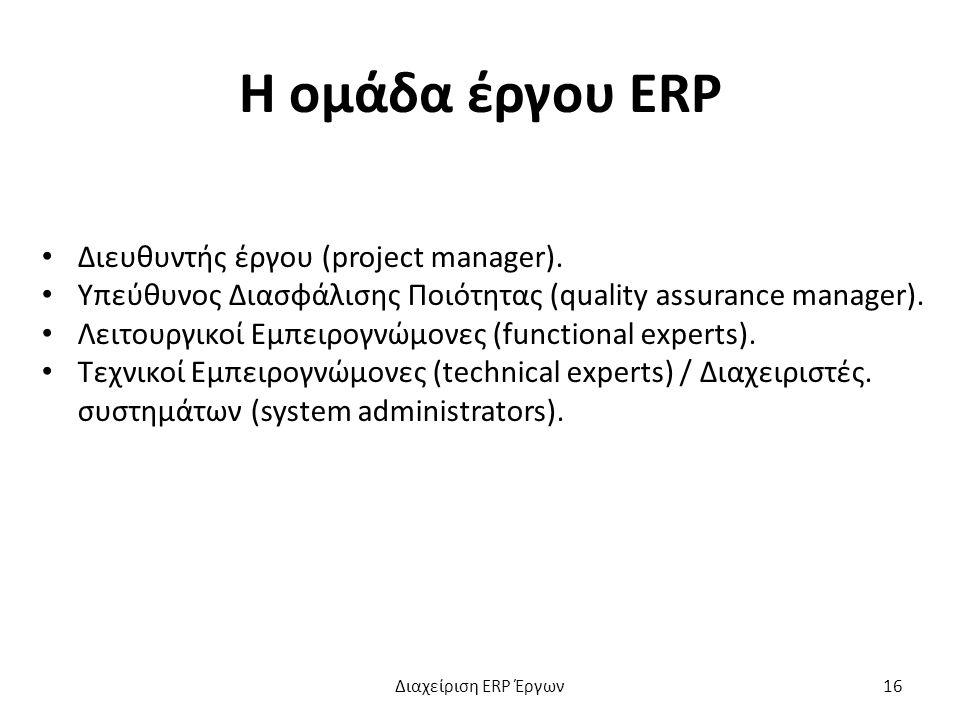 Η ομάδα έργου ERP Διευθυντής έργου (project manager).