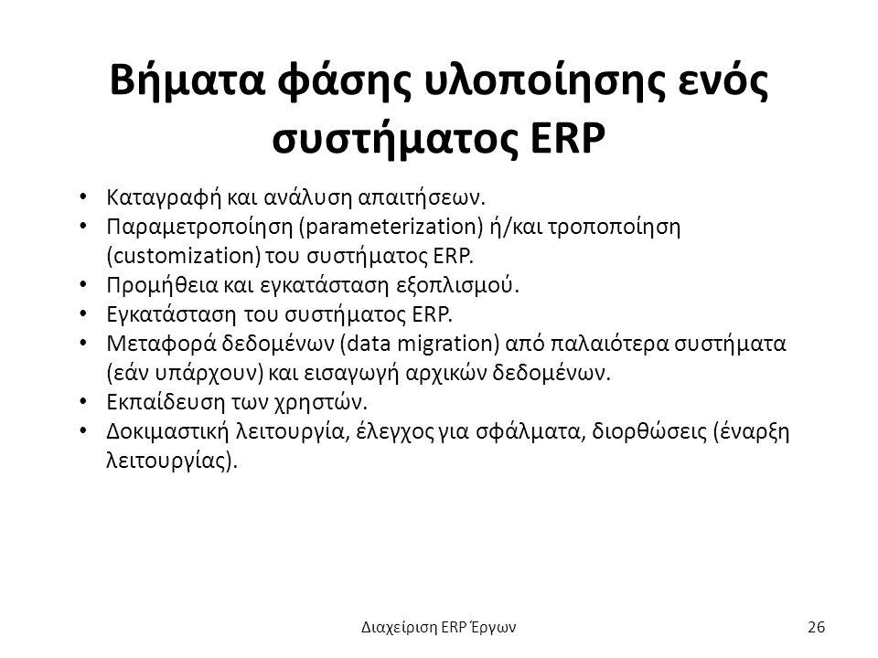 Βήματα φάσης υλοποίησης ενός συστήματος ERP Καταγραφή και ανάλυση απαιτήσεων.