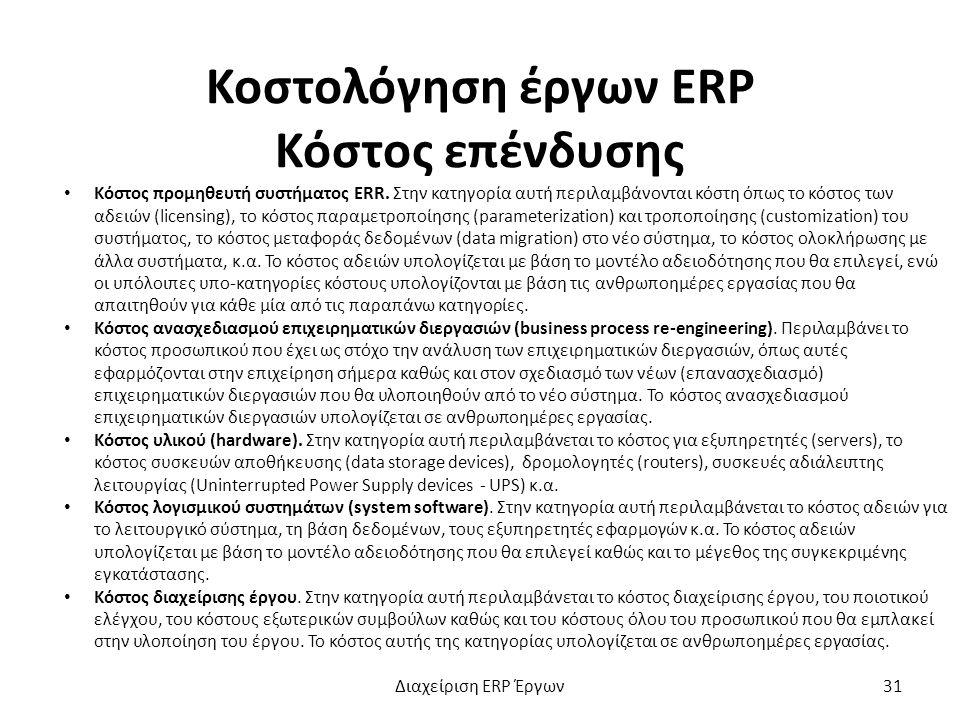 Κοστολόγηση έργων ERP Κόστος επένδυσης Κόστος προμηθευτή συστήματος ERR.