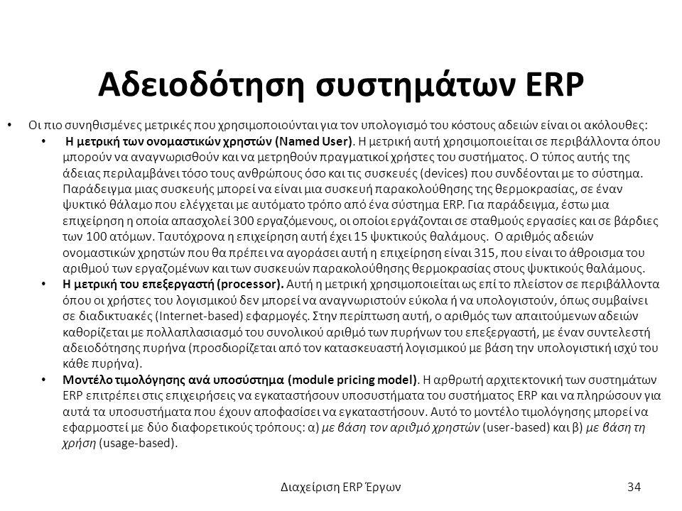 Αδειοδότηση συστημάτων ERP Οι πιο συνηθισμένες μετρικές που χρησιμοποιούνται για τον υπολογισμό του κόστους αδειών είναι οι ακόλουθες: Η μετρική των ονομαστικών χρηστών (Named User).