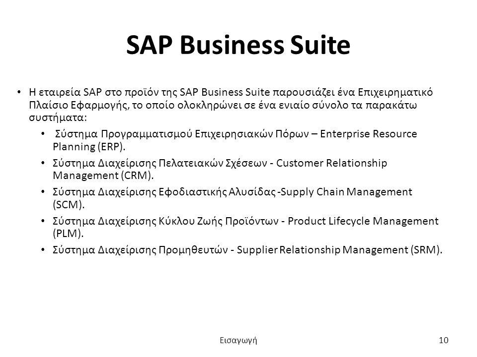 SAP Business Suite Η εταιρεία SAP στο προϊόν της SAP Business Suite παρουσιάζει ένα Επιχειρηματικό Πλαίσιο Εφαρμογής, το οποίο ολοκληρώνει σε ένα ενιαίο σύνολο τα παρακάτω συστήματα: Σύστημα Προγραμματισμού Επιχειρησιακών Πόρων – Enterprise Resource Planning (ERP).