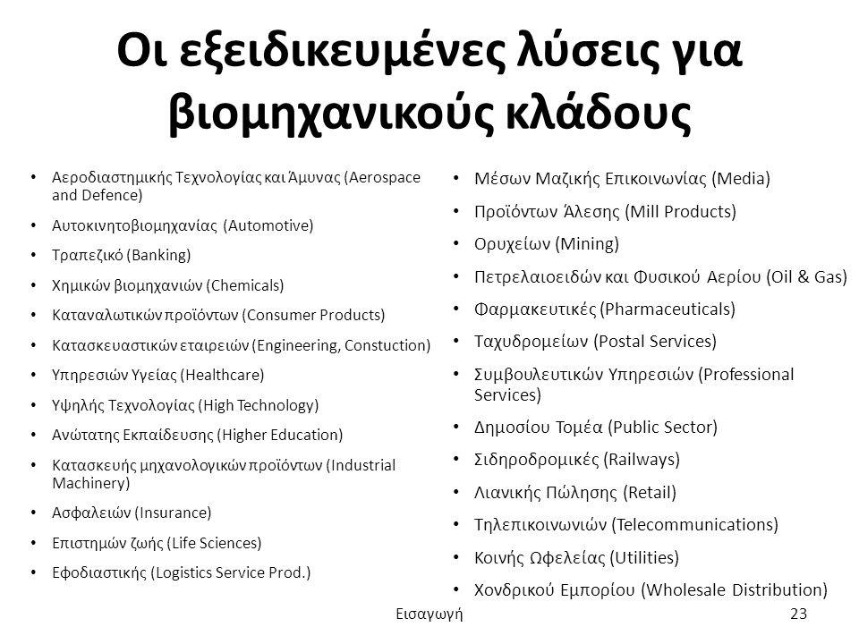 Οι εξειδικευμένες λύσεις για βιομηχανικούς κλάδους Αεροδιαστημικής Τεχνολογίας και Άμυνας (Aerospace and Defence) Αυτοκινητοβιομηχανίας (Automotive) Τραπεζικό (Banking) Χημικών βιομηχανιών (Chemicals) Καταναλωτικών προϊόντων (Consumer Products) Κατασκευαστικών εταιρειών (Engineering, Constuction) Υπηρεσιών Υγείας (Healthcare) Υψηλής Τεχνολογίας (High Technology) Ανώτατης Εκπαίδευσης (Higher Education) Κατασκευής μηχανολογικών προϊόντων (Industrial Machinery) Ασφαλειών (Insurance) Επιστημών ζωής (Life Sciences) Εφοδιαστικής (Logistics Service Prod.) Μέσων Μαζικής Επικοινωνίας (Media) Προϊόντων Άλεσης (Mill Products) Ορυχείων (Mining) Πετρελαιοειδών και Φυσικού Αερίου (Oil & Gas) Φαρμακευτικές (Pharmaceuticals) Ταχυδρομείων (Postal Services) Συμβουλευτικών Υπηρεσιών (Professional Services) Δημοσίου Τομέα (Public Sector) Σιδηροδρομικές (Railways) Λιανικής Πώλησης (Retail) Τηλεπικοινωνιών (Telecommunications) Κοινής Ωφελείας (Utilities) Χονδρικού Εμπορίου (Wholesale Distribution) Εισαγωγή23