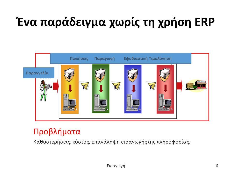Ένα παράδειγμα χωρίς τη χρήση ERP Προβλήματα Καθυστερήσεις, κόστος, επανάληψη εισαγωγής της πληροφορίας.