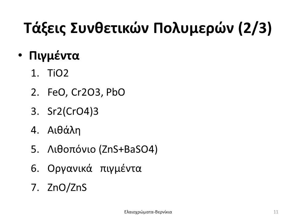 Τάξεις Συνθετικών Πολυμερών (2/3) Πιγμέντα 1.TiO2 2.FeO, Cr2O3, PbO 3.Sr2(CrO4)3 4.Αιθάλη 5.Λιθοπόνιο (ZnS+BaSO4) 6.Οργανικά πιγμέντα 7.ZnO/ZnS Ελαιοχρώματα-Βερνίκια11