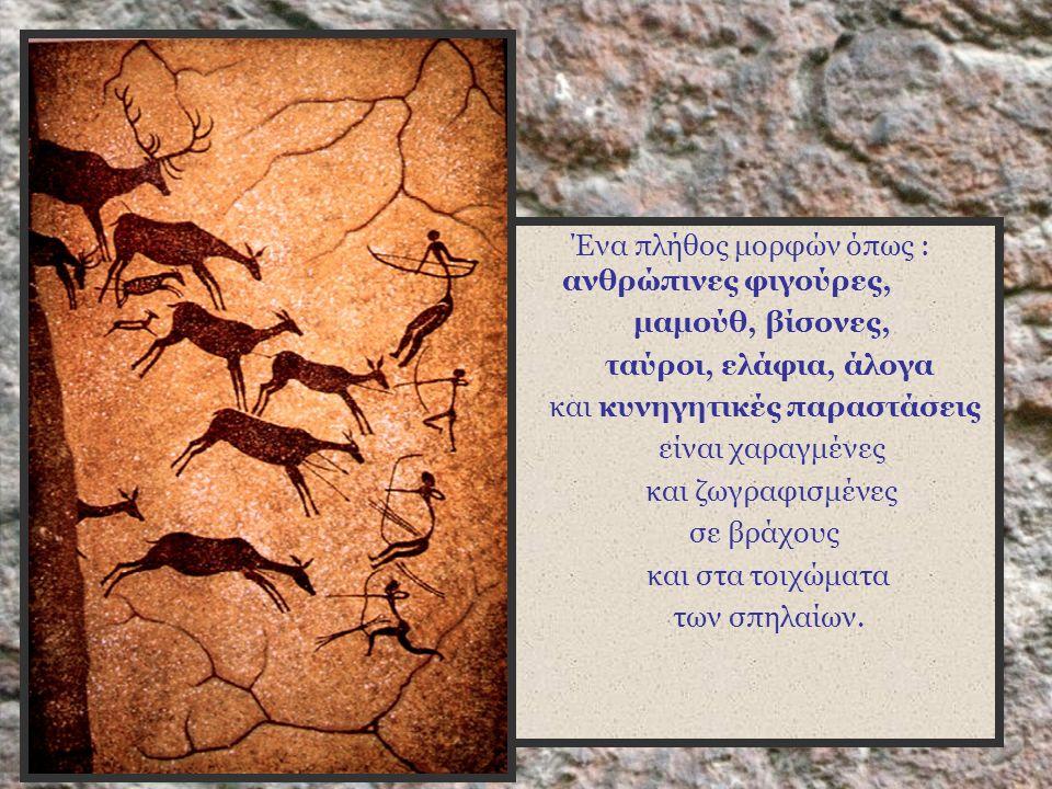 Ένα πλήθος μορφών όπως : ανθρώπινες φιγούρες, μαμούθ, βίσονες, ταύροι, ελάφια, άλογα και κυνηγητικές παραστάσεις είναι χαραγμένες και ζωγραφισμένες σε βράχους και στα τοιχώματα των σπηλαίων.