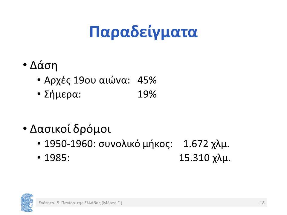 Παραδείγματα Δάση Αρχές 19ου αιώνα: 45% Σήμερα: 19% Δασικοί δρόμοι 1950-1960: συνολικό μήκος: 1.672 χλμ. 1985: 15.310 χλμ. Ενότητα 5. Πανίδα της Ελλάδ