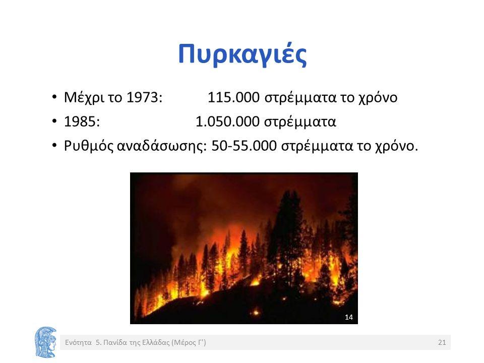 Πυρκαγιές Μέχρι το 1973: 115.000 στρέμματα το χρόνο 1985: 1.050.000 στρέμματα Ρυθμός αναδάσωσης: 50-55.000 στρέμματα το χρόνο.