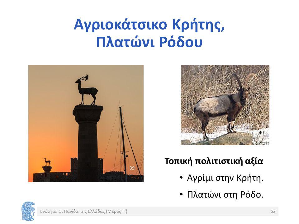 Αγριοκάτσικο Κρήτης, Πλατώνι Ρόδου Ενότητα 5. Πανίδα της Ελλάδας (Μέρος Γ')52 Τοπική πολιτιστική αξία Αγρίμι στην Κρήτη. Πλατώνι στη Ρόδο. 40 3939