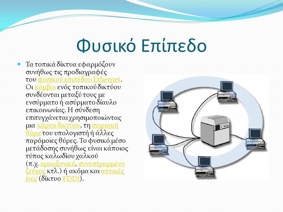 Φυσικό Επίπεδο Τα τοπικά δίκτυα εφαρμόζουν συνήθως τις προδιαγραφές του φυσικού επιπέδου Ethernet.