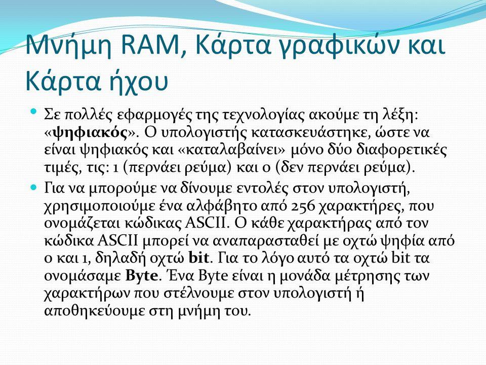 Μνήμη RAM, Κάρτα γραφικών και Κάρτα ήχου Σε πολλές εφαρμογές της τεχνολογίας ακούμε τη λέξη: «ψηφιακός».