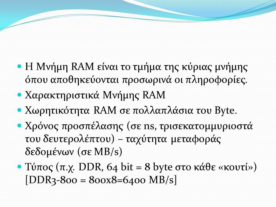 Η Μνήμη RAM είναι το τμήμα της κύριας μνήμης όπου αποθηκεύονται προσωρινά οι πληροφορίες.