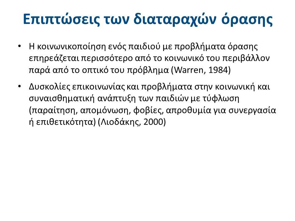 Επιπτώσεις των διαταραχών όρασης Η κοινωνικοποίηση ενός παιδιού με προβλήματα όρασης επηρεάζεται περισσότερο από το κοινωνικό του περιβάλλον παρά από το οπτικό του πρόβλημα (Warren, 1984) Δυσκολίες επικοινωνίας και προβλήματα στην κοινωνική και συναισθηματική ανάπτυξη των παιδιών με τύφλωση (παραίτηση, απομόνωση, φοβίες, απροθυμία για συνεργασία ή επιθετικότητα) (Λιοδάκης, 2000)